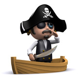 3d Pirate in a small dinghy