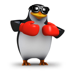 3d Boxing penguin in tthe red corner