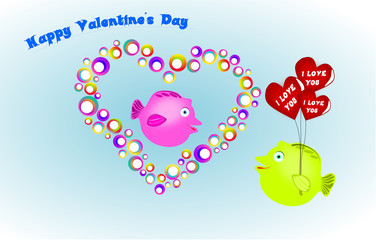 The Valentine's Day card with fish