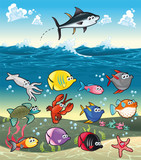 Funny fish under the sea Vector characters