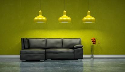 Wohndesign -schwarzes Ledersofa vor grüner Wand