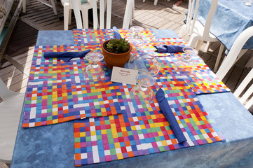 Cafe table in Marina Piccolo Capri Italy
