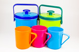 Colorful plastic water canteens and cups
