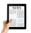 Hand Holds Tablet PC With News Isolated