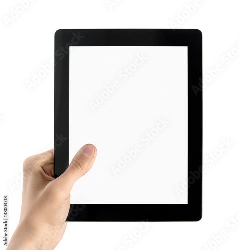 Hand Holds Electronic Tablet PC Isolated