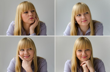 Junge attraktive Frau trifft Entscheidung (Collage)