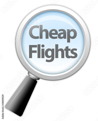 """Magnifying Glass Icon """"Cheap Flights"""""""