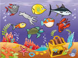 Fototapety Funny fish under the sea. Vector illustration.