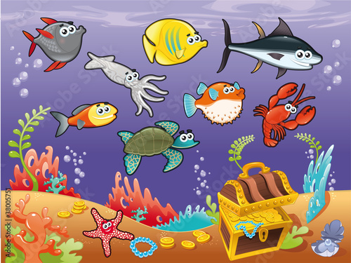 Funny fish under the sea. Vector illustration.