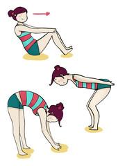 tre esercizi di ginnastica e stretching