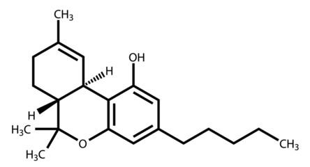 Tetrahydrocannabinol structural formula