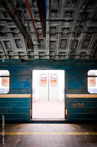 Subway train in dark tunnel