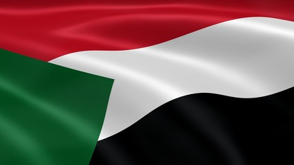 Sudanese flag in the wind