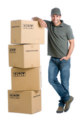 Satisfied worker with boxes