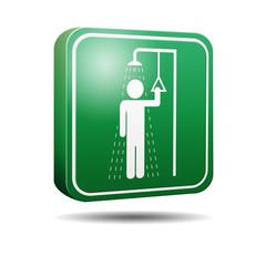 Icono 3D ducha de emergencia