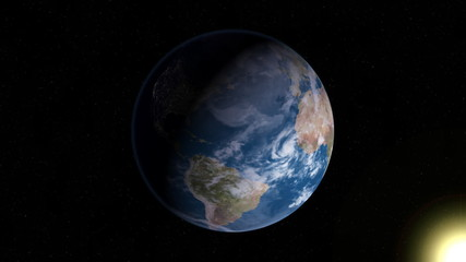 Earth in Space with Sun