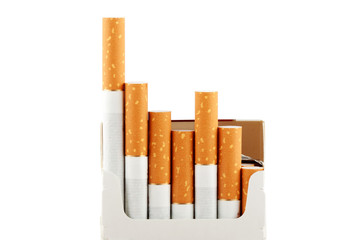 Cigarettes in pack on the white