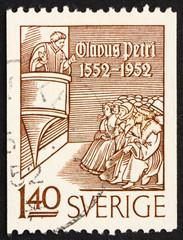 Postage stamp Sweden 1952 Olaus Petri Preaching