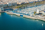 Barcelona port view from the air.