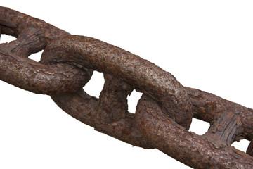 Makroaufnahme einer rostigen Eisenkette im Querformat