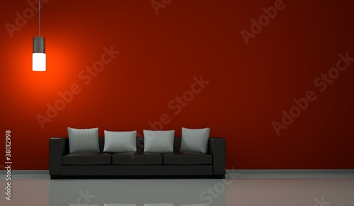 Wohndesign - Sofa vor roter Wand