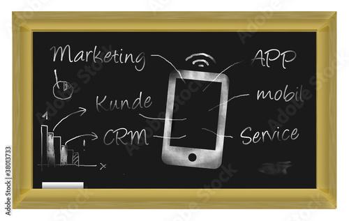 Marketing - Tafel mit Smartphone Darstellung