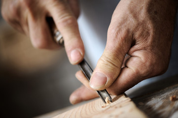 hands of a carpenter, close up