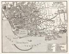Vintage Karte von Livorno
