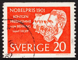 Postage stamp Sweden 1961 Roentgen, Prudhomme, von Behring and v