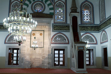 The interior of Yeni Cuma Mosque, Kocaeli.