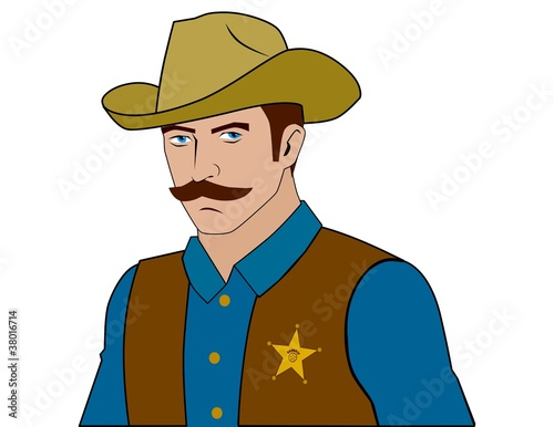 Cartoon Sheriff in a Hat