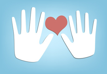 Two Hands and Heart. Vector Illustration.