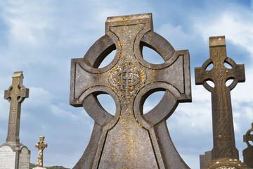 Celtic crosses over blue sky