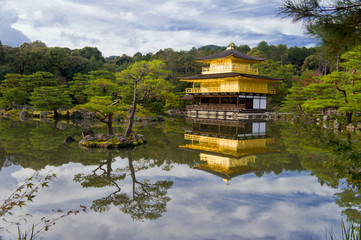 Golden temple near beautiful lake, Japan