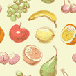 seamless pattern with fruits in hand drawn style