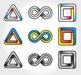 set of abstract infinite logos poster
