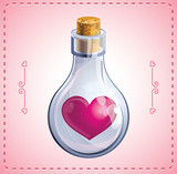 valentine card with heart in bottle