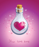 closed glass bottle with pink heart inside it