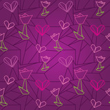 seamless origami pattern with hearts