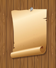 old paper attached by nail to wooden background