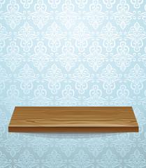 vector wooden shelf on beautiful wall