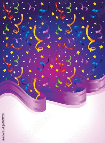 bright background with confetti and ribbon - vector illustration