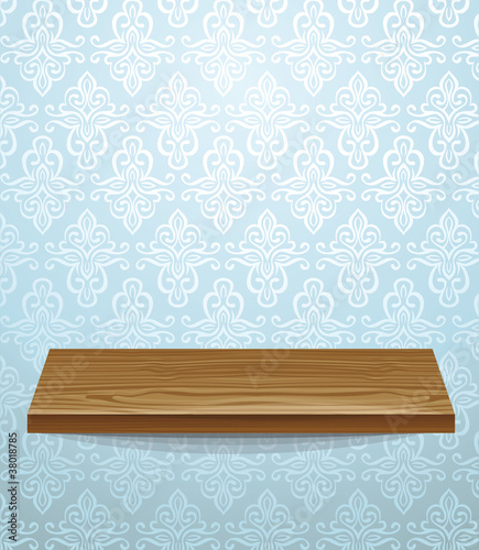 vector wooden shelf on beautiful wall