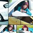 Happy car owner collage