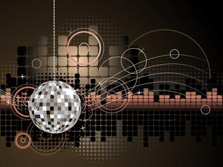Urban Music Disco Ball Background - Vector