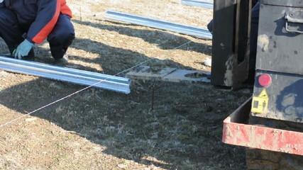 Industrial installation of solar panels. Solar panels.