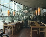 Modernistic restaurant interior. Cozy romantic atmosphere. poster