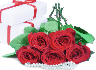 roses and gifts box
