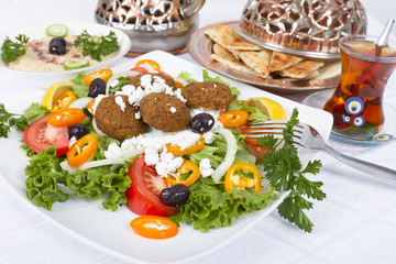 Falafel Salad with Pita and Hummus