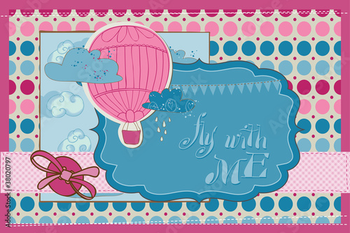 Scrapbook Invitation Card - Party, Balloons and Parachute